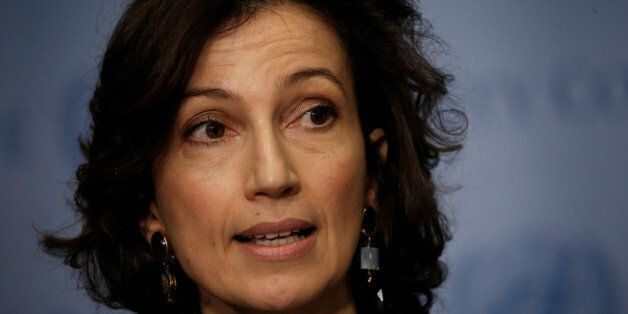 Audrey Azoulay, Minister of Culture and Communication of France, speaks to reporters after the United...