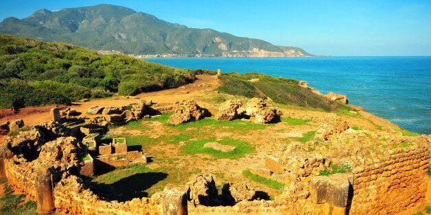 Tipaza, Algeria: circular mausoleum by the Mediterranean sea - Tipasa Roman ruins, Unesco World Heritage...