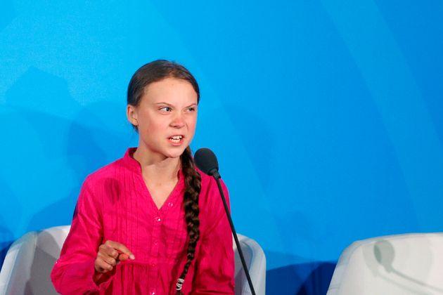 Environmental activist Greta Thunberg addresses the UN Climate Action Summit, Sept. 23,