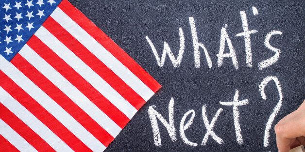 What's next on the chalk board and US flag. Election
