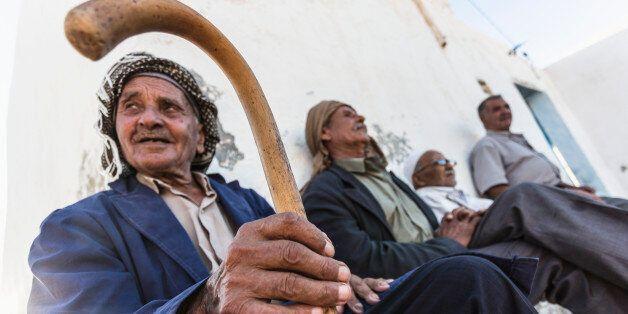 Tunisia, Tamezret . Inhabitants of the small village of