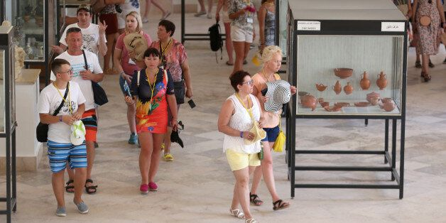 Tourists walk ,inside the Carthage Museum near Tunis, Tunisia July 31, 2017. Picture taken July 31, 2017....