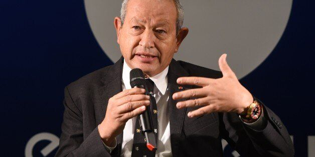 Euronews' new majority shareholder Egyptian Naguib Sawiris speaks during a press conference on October...