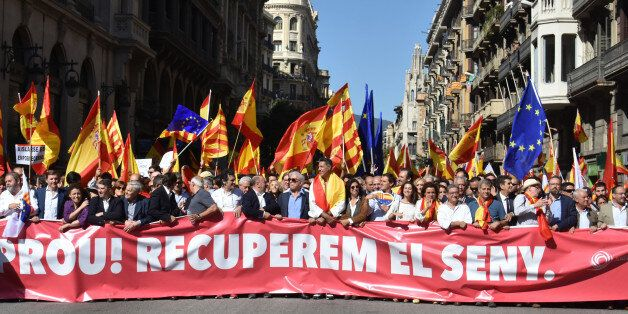 BARCELONA, CATALONIA, SPAIN - 2017/10/08: A view of the head of the March during the demonstration for...