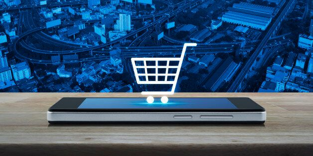 Shopping cart icon on smart phone screen, Shop online