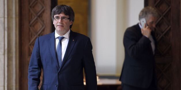 Catalan president Carles Puigdemont arrives to receive members of the Independent Commission for Mediation,...