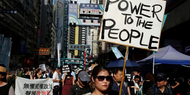 Pro-democracy activists take part in a protest on China's National Day in Hong Kong, China October 1,...