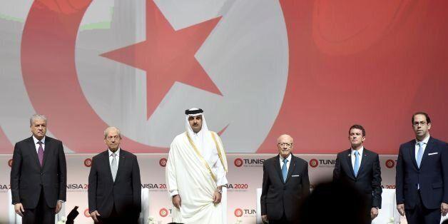 (LtoR) Algerian Prime Minister Abdelmalek Sellal: Tunisian Assembly President Mohamed Ennaceur; the Emir...