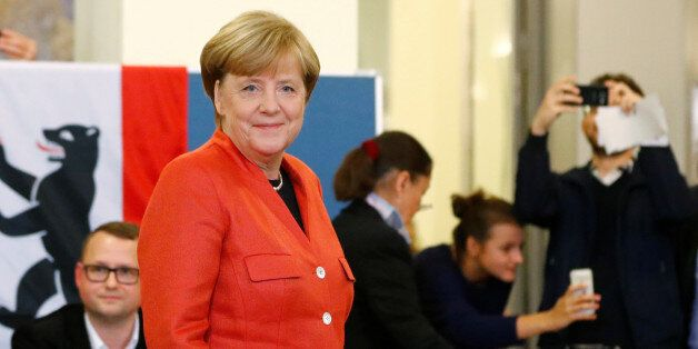 German Chancellor and leader of the Christian Democratic Union CDU Angela Merkel is seen after casting...