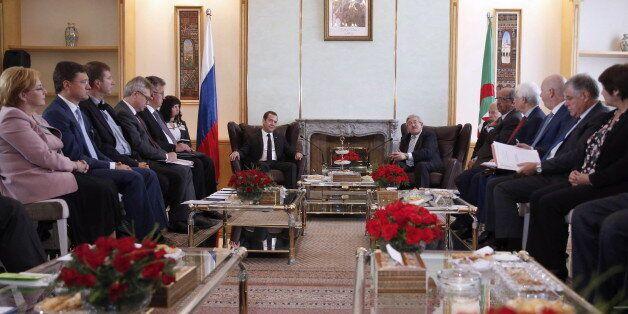 ALGIERS, ALGERIA - OCTOBER 10, 2017: Russia's Prime Minister Dmitry Medvedev and Algeria's Prime Minister...
