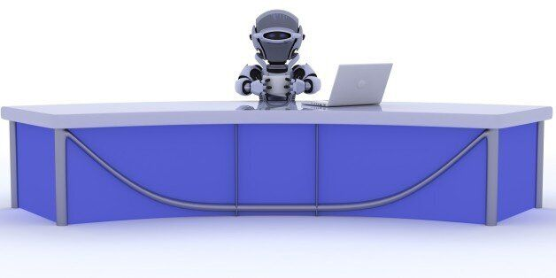 3D render of a robot sat at a desk reporting the