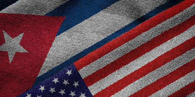 3D rendering of the flags of USA and Cuba on woven fabric texture. Detailed textile pattern and grunge