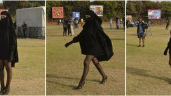 Mi-voilée sous une burqa, mi-sexy, elle dévoile ses jambes (et on sait