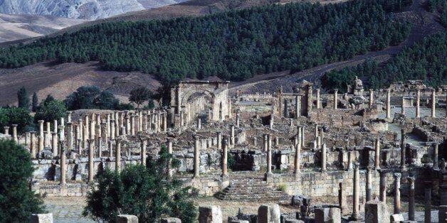 ALGERIA - FEBRUARY 22: View of the ancient Roman city of Djemila (UNESCO World Heritage List, 1982),...