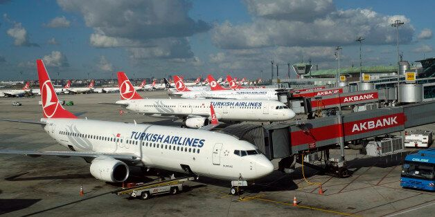 Turkish Airlines aircrafts are parked at the Ataturk International airport in Istanbul, Turkey December...