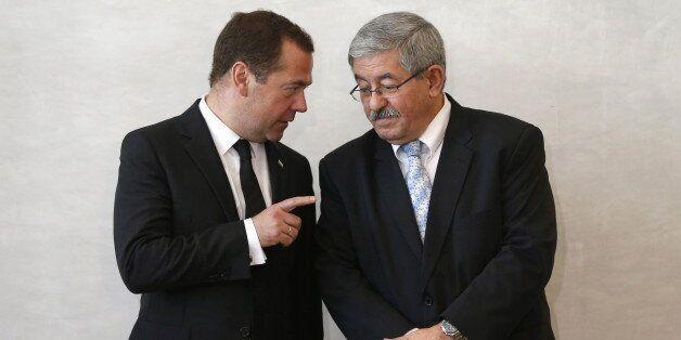 ALGIERS, ALGERIA - OCTOBER 10, 2017: Russia's Prime Minister Dmitry Medvedev (L) and Algeria's Prime...