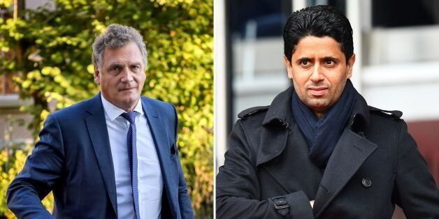 (FILES) This combination of file images created on October 13, 2017, shows (L) French former FIFA Secretary...