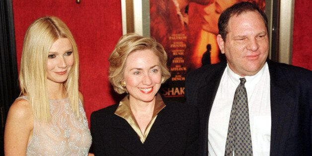 Actress Gwyneth Paltrow (L) poses with first lady Hillary Rodham Clinton (C) and Miramax co-chairman...