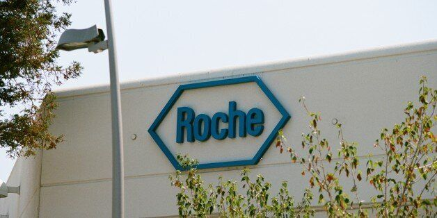 Logo on building exterior at the Silicon Valley headquarters of pharmaceutical company Roche, Santa Clara,...