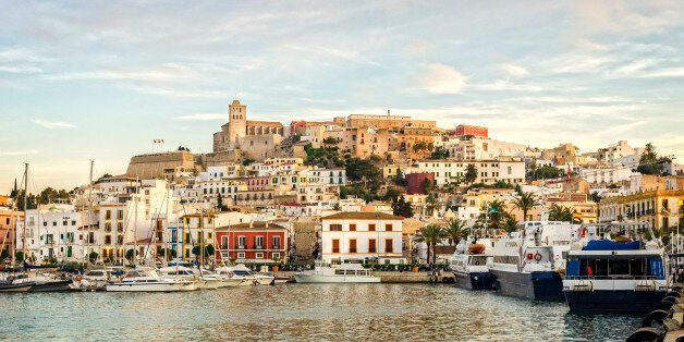 An evening shot of marina, Ibiza Town & the Dalt Villa (the old fortress city on the hill side). At the...