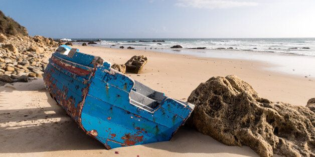 Small boat used for illegal immigration. Found on the beaches of Tarifa,