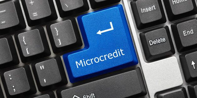Close-up view on conceptual keyboard - Microcredit (blue