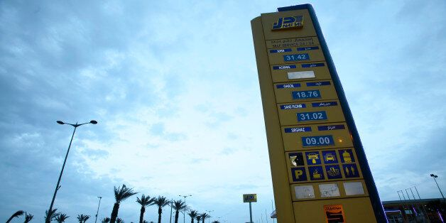 A Naftal billboard shows prices at the entrance of the fuel station in the highway of Algiers, Algeria...