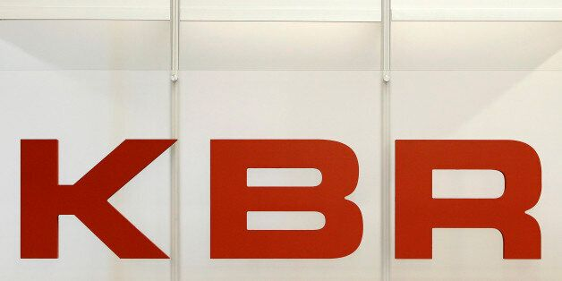 The logo for KBR Inc., is displayed at the 2010 Offshore Technology Conference in Houston, Texas, U.S.,...