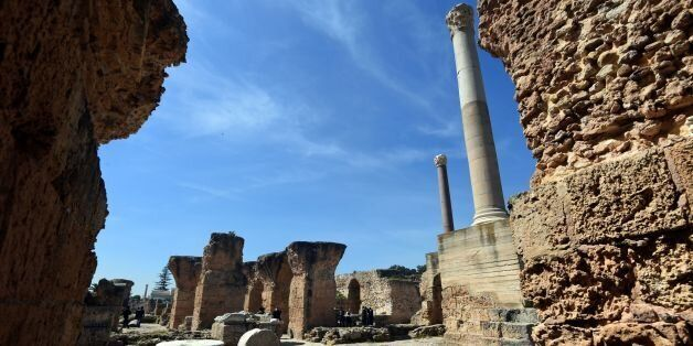 A general view taken on March 29, 2016 shows a partial view of the Antonine Baths, the largest bath complex...