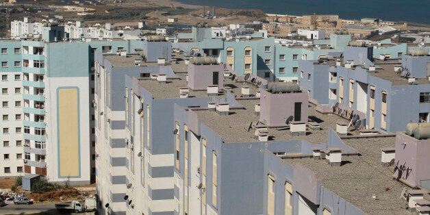 A general view shows newly constructed residential buildings in Ain Benian on the outskirts of the Algerian...