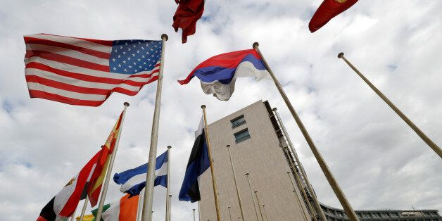An American flag flies outside the headquarters of the United Nations Educational, Scientific and Cultural...