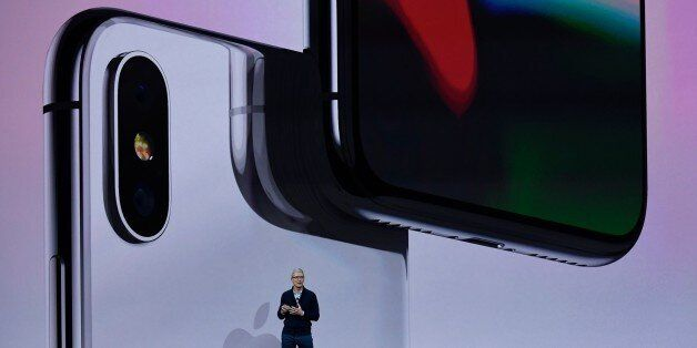 CUPERTINO, CA - SEPTEMBER 12: Apple CEO Tim Cook makes speech during the Apple launch event on September...
