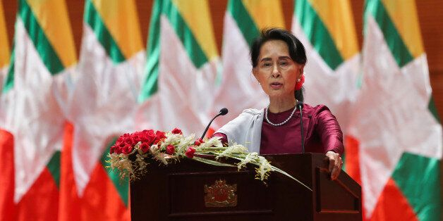 Myanmar's State Counsellor Aung San Suu Kyi delivers a national address in Naypyidaw on September 19,...
