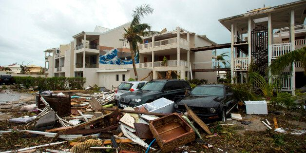 A photo taken on September 6, 2017 shows damage outside the 'Mercure' hotel in Marigot, on the Bay of...