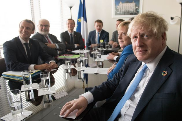 Prime Minister Boris Johnson holds a Trilateral meeting with Chancellor Merkel of Germany and President...