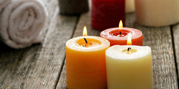Aromatherapy. Candles and spa objects on the