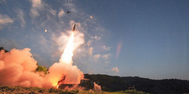 In this photo provided by South Korea Defense Ministry, South Korea's Hyunmoo II ballistic missile is...
