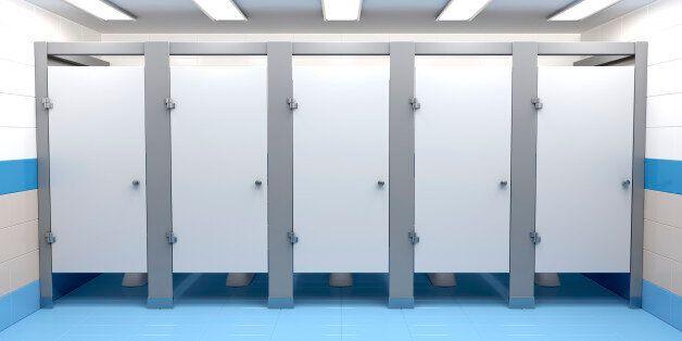 Public toilet cubicles, front