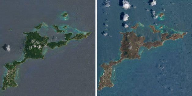 Vu depuis l'espace, l'avant-après Irma dans les Caraïbes est
