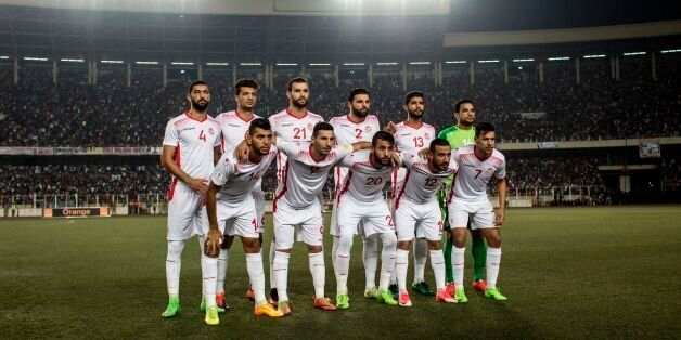 Tunisia football team players pose prior to the FIFA World Cup 2018 qualification football match between...