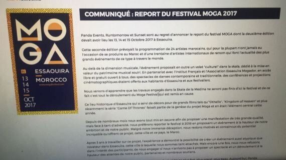 Le festival Moga d'Essaouira reporté à