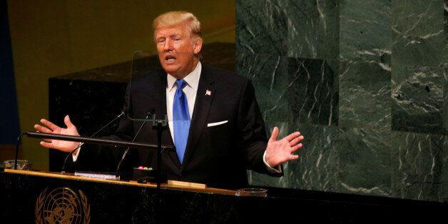 Le président américain Donald Trump prononce un discours lors de la 72e assemblée générale des Nations...