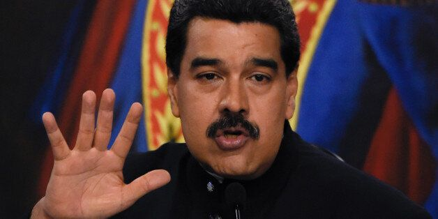 Venezuelan President Nicolas Maduro offers a press conference at the Miraflores presidential palace in...