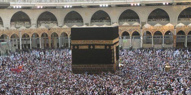 Muslim pilgrims circumambulate the Kaaba, Islam's holiest shrine, at the Grand Mosque in Saudi Arabia's...