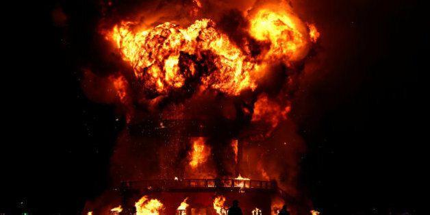 L'effigie du festival Burning Man, durant le traditionnel feu auquel 7000 participants assistent, dans...