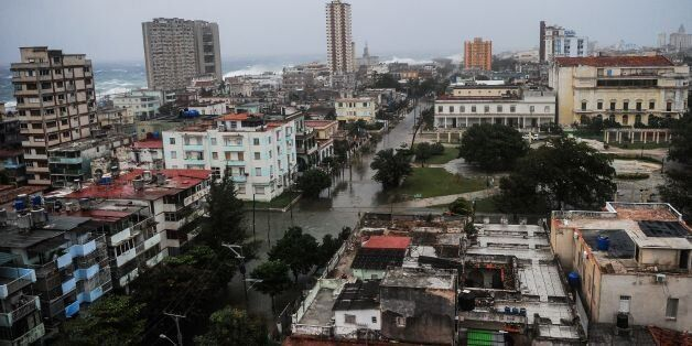 View of flooded streets in Havana during the passage of Hurricane Irma, on September 9, 2017. Irma's...