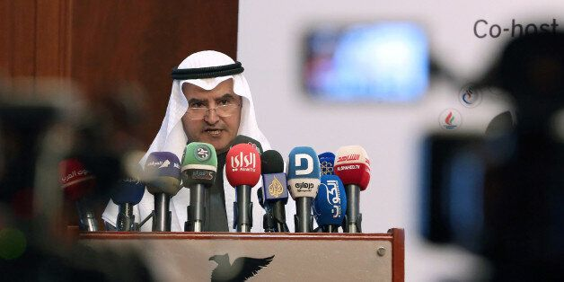 Kuwaiti Minister of Oil, Electricity and Water, Essam Al-Marzouk, gives a speech during the Petroleum...