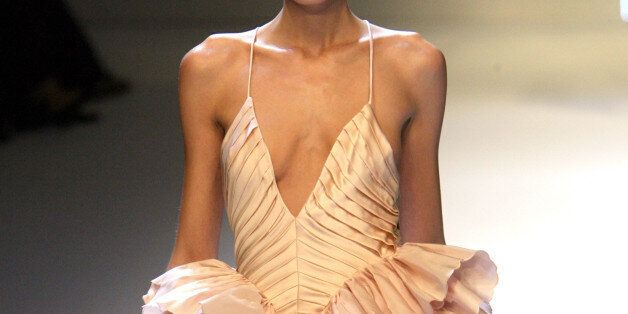 A model presents this creation by Italian designer Valentino for his Spring/Summer 2007 ready-to-wear...