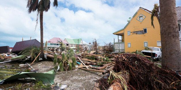TOPSHOT - A photo taken on September 7, 2017 shows damage in Orient Bay on the French Carribean island...