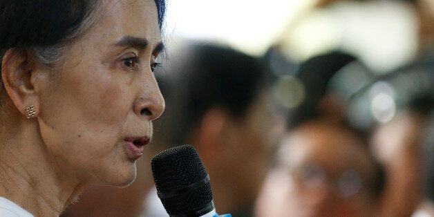 Myanmar State Counselor Aung San Suu Kyi gives a memorial speech for Aung Shwe, former chairman of National...